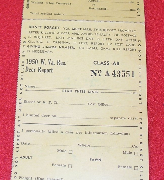 Vintage 1950 wv west virginia hunting fishing license with for Wv fishing license online